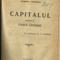 Capitalul de Karl Marx rezumat de Carlo Cafiero (1919)